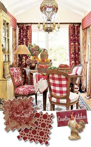 French kitchen roosters   French country kitchen - with accents of red and black (no roosters ...
