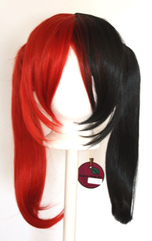 18 Pig Tails Part Long Bangs Red Black Split Blonde Wig