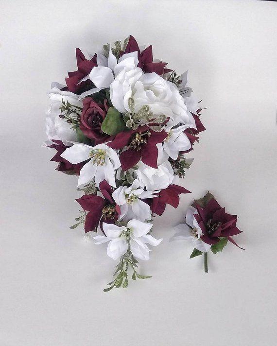 Burgundy Cascade Bouquet Waterfall Bouquet Winter Wedding Etsy Wedding Flower Packages Winter Wedding Planning Flower Packaging