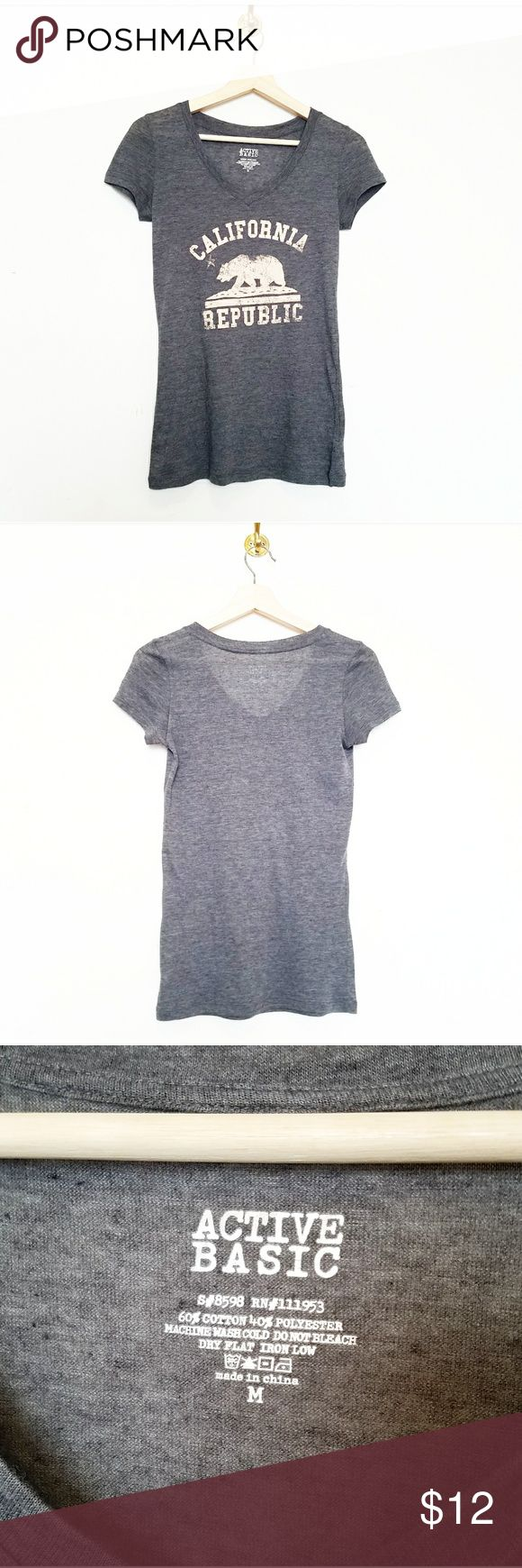 """NWOT Gray Basic Graphic Tee California Republic NWOT Gray Basic Graphic Tee California Republic. Features California State Flag Design """"California Republic"""" Size Medium 60% Cotton 40% Polyester. Very Comfortable and soft Material. Tops Tees - Short Sleeve"""