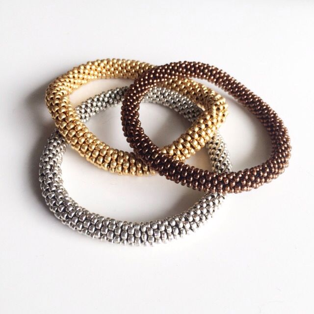 Crochet rope. Silver, gold, bronce