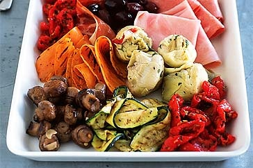 """Antipasto Platter! Yum! -- """"Artfully place cold cuts of meat and marinated vegetables on a beautiful platter then let everyone dig in."""""""