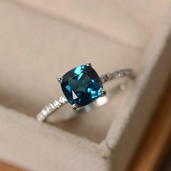 London blue topaz ring blue gemstone cushion cut by LuoJewelry