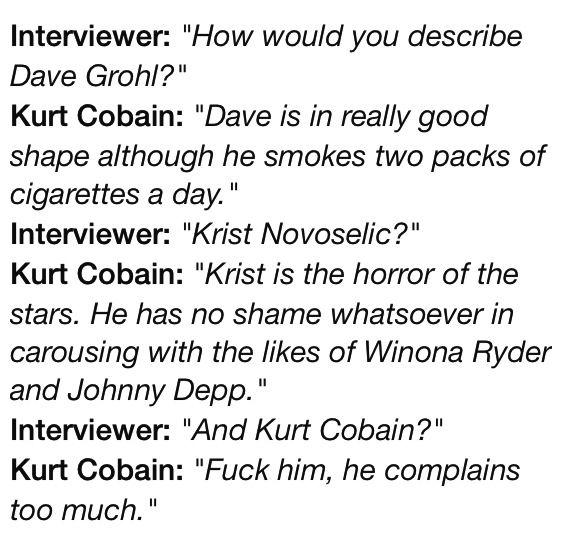 Kurt Cobain and his sense of humour