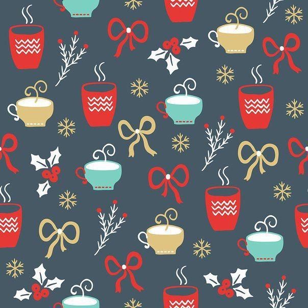 Новогодний фон с бантиками и горячими напитками.
