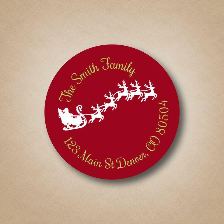 Christmas Return Address Label Red Address Label Flying Santa in Sleigh Custom Address Label Stickers Holiday Address Labels Christmas Cards by StickEmUpLabels on Etsy https://www.etsy.com/listing/243741552/christmas-return-address-label-red