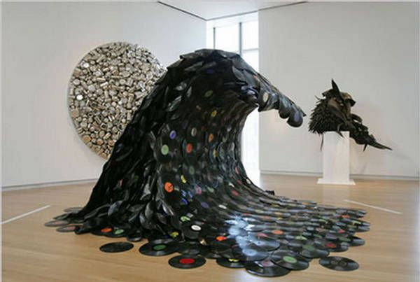 "Korean artist Jean Shin created this sculpture ""Sound Wave"" (2007) out of melted vinyl records"