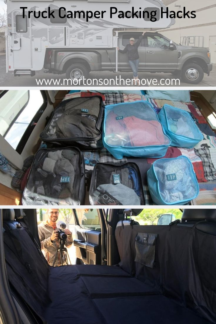 Truck Camper Packing Hacks From Dishes Food To Packing Cubes And Pet Bridges We Learned A Few Tricks To Packing A Truck Cam Truck Camper Rv Travel Trucks