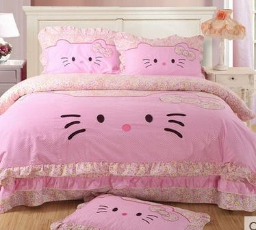 100 cotton cat bedding set kids pink Lace quilt covers bedding sets Cotton Oil printing bed sheet OWL Bed duver cover-in Bedding Sets from Home & Garden on Aliexpress.com | Alibaba Group