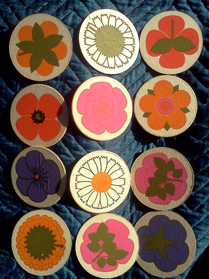 24 VTG Denmark coasters Lena Eklund, Laurids Lonborg .  Blumens flowers. $24.95, via Etsy.