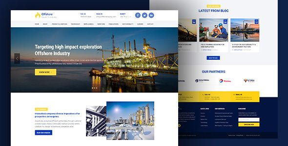 Offshore is a well designed Industrial Website Template with HTML5 and Responsive design. Industrial HTML Template is also suitable for any kind of businesses and its crafted for corporate services...