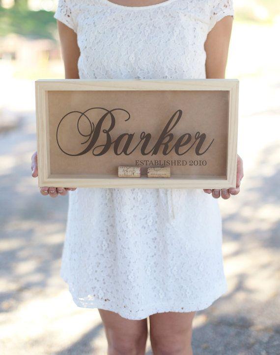 Personalized Wine Cork Keeper Style 10 - Fancy Last Name - Morgann Hill Designs