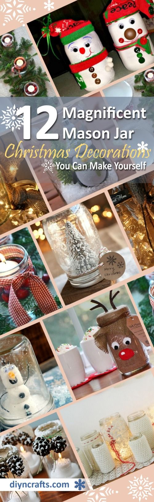 12 Magnificent Mason Jar Christmas Decorations You Can Make Yourself via @vanessacrafting