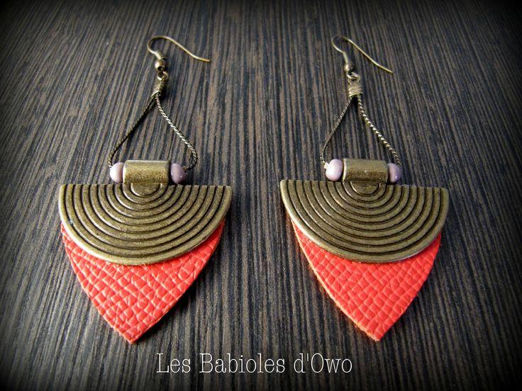 Boucles d'Oreille ethniques Bronze&Corail