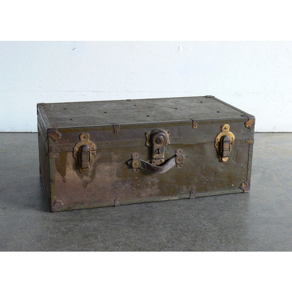 Vintage Military Trunk by CoMod Classics - eclectic - storage boxes -... ❤ liked on Polyvore