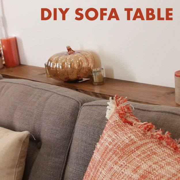 Pin it! | This DIY Sofa Table Adds Much-Needed Storage Behind A Couch