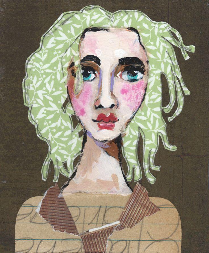 Kleine zusters No. 15 | Mixed Media Portret, verf, Collage, originele kunst, hedendaagse, grillige Art, MitziEasley door MitziEasleysStudio op Etsy https://www.etsy.com/nl/listing/520726781/kleine-zusters-no-15-mixed-media-portret