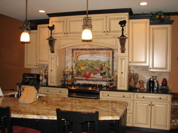 Tuscan Kitchen Remodel Two Color Cabinets And Granites With Hand Painted Mural Over The Cooktop Nearly Comp