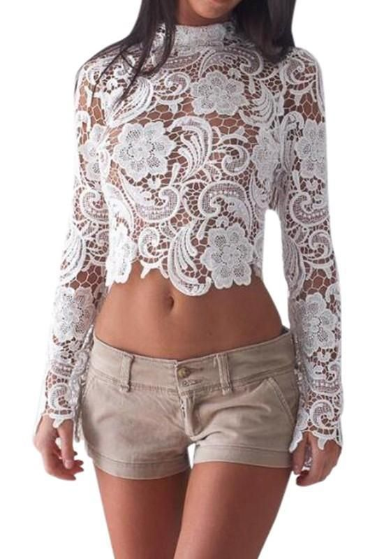 b56c346d42aa5 White Floral Cut Out Zipper Lace Round Neck Long Sleeve Blouse in 2019