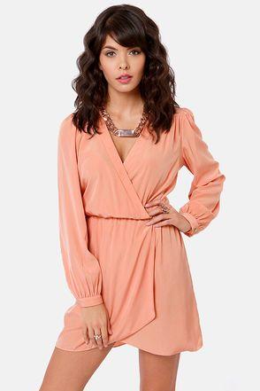 Thats a Wrap Dark Peach Long Sleeve Dress