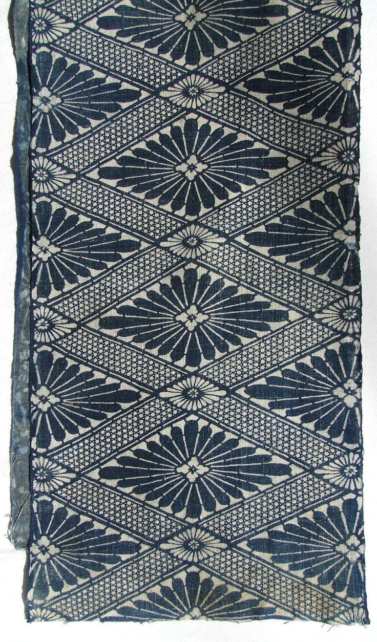 Antique Indigo Cotton. Japanese Katazome Floral Geometric Design. Meiji / Taisho Folk Textile (Shop Ref: 057). ¥4,000, via Etsy.