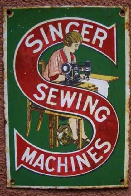 Singer Sewing Machines Enamel Sign.  Picture Courtesy of Peter Horton.