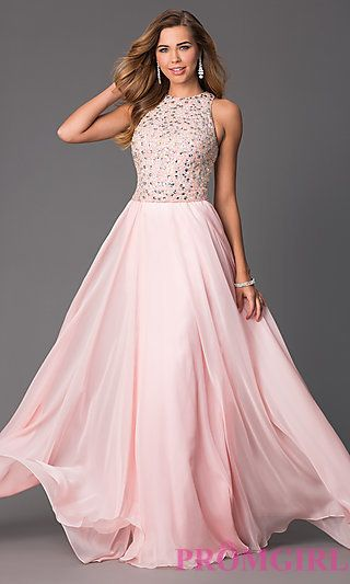 Sleeveless Floor Length Prom Dress at PromGirl.com This dress is beautiful, I just wish it was less $$