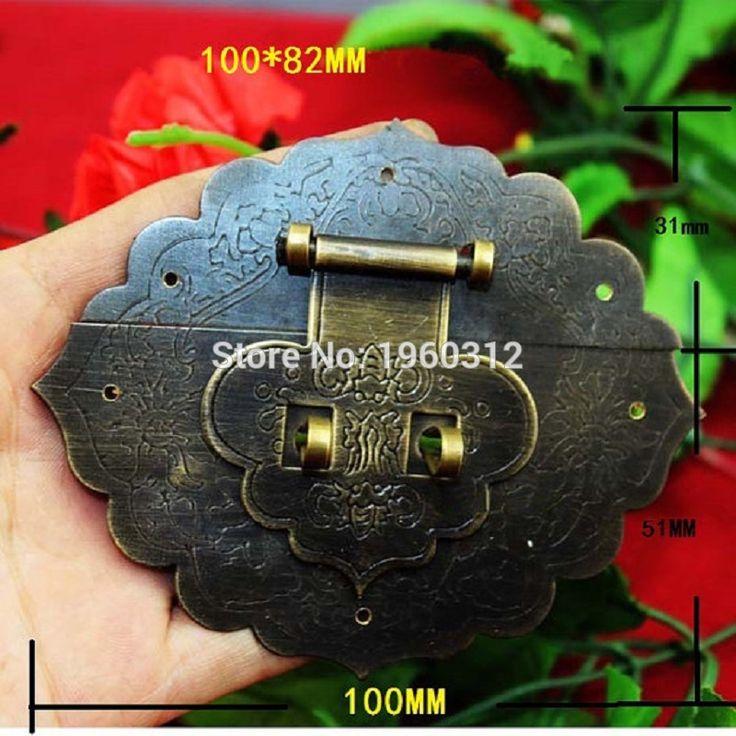 "1pc Large Brass Hasp - Vintage Senior Camphorwood Chest Flower Lock Catch Latches Buckle Clasp - 3.9""x3.2""(100mm x 82mm)"
