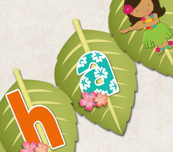 Aloha Luau Birthday Party Banner ALOHA by missbellaexpressions, $7.00