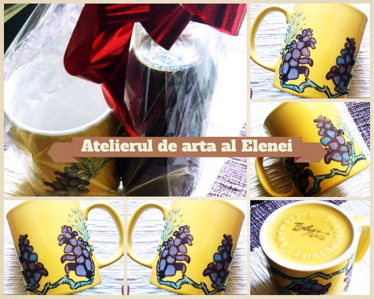 """Partener """"Dulceata de la Oana"""": Atelierul de arta al Elenei - https://www.facebook.com/atelieruldeartaalelenei  Set cadou: sirop muguri de brad + cana pictata manual, 35 lei"""