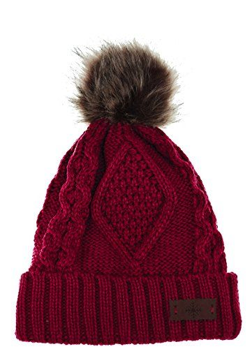 985dd51c345 Womens Winter Fleece Lined Cable Knitted Pom Pom Beanie Hat Red ...