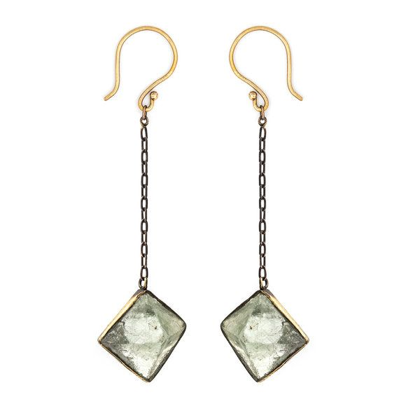 FLUORITE EARRINGS - Oxidized Brass Banded Raw Crystal Octahedrons With Brass Chains - Heathen Clothing Dangle Earrings