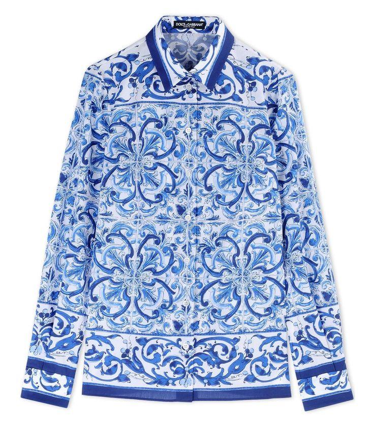 Dolce & Gabbana Blue Cotton Printed Button-Front Shirt
