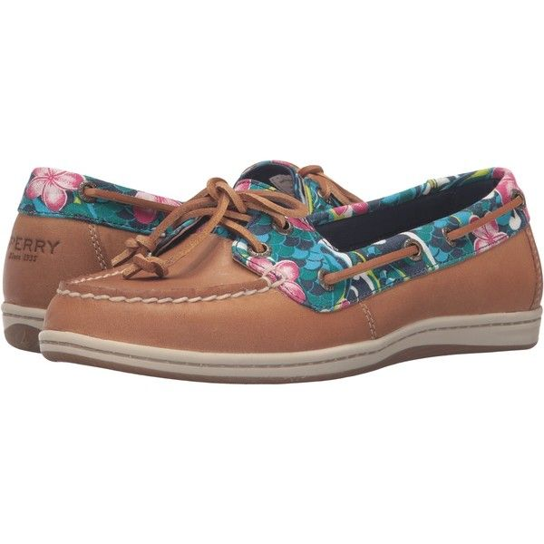 Sperry Firefish Floral (Tan/True Blue) Women's Lace Up Moc Toe Shoes ($55) ❤ liked on Polyvore featuring shoes, brown, sperry shoes, brown lace up shoes, tan leather shoes, brown shoes and brown leather shoes