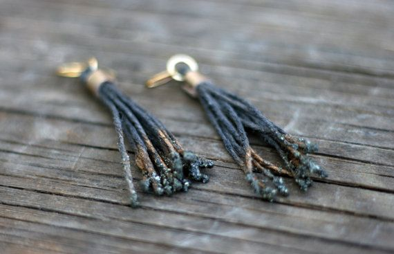 Long Earrings - Long Cannabis rope Fringed Earrings - Obre Gold Jewelry with iron pyrite bites