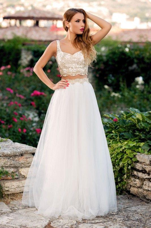 rochie lunga doua piese - rochii de seara lungi