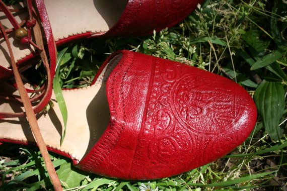Boho Red Leather Flats Hand Cut And Sewn by TaylorGirlsShop