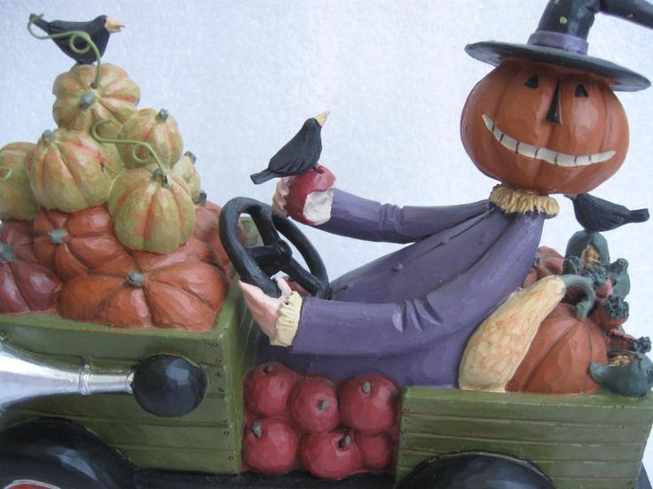 Williraye Autumn Rambler Halloween Thanksgiving Scarecrow Jack O Lantern Figurine