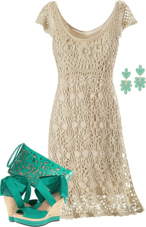 """Nice crochet lace dress with aqua details!! """"Just 4"""" by mclaires on Polyvore"""