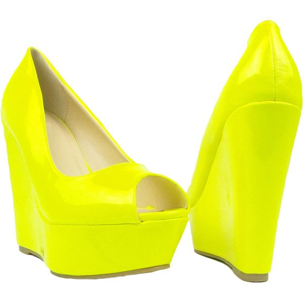 Womens Platform Sandals Patent Leather Peep Toe Wedge High Heel Shoes... ($25) ❤ liked on Polyvore featuring shoes, sandals, yellow, wedges shoes, patent leather sandals, platform sandals, yellow shoes ve high heel sandals