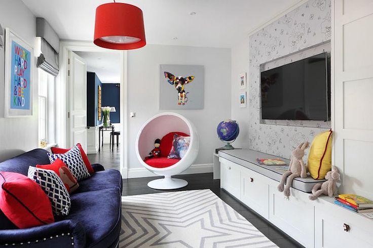 salle de jeu enfant et ado de design élégant avec fauteuil oeuf