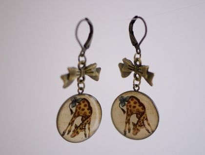 Giraffe and bow earrings