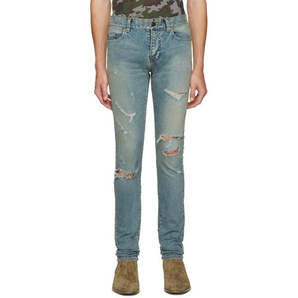 Saint Laurent Blue Original Low Waisted Destroyed Skinny Jeans ($865) ❤ liked on Polyvore featuring men's fashion, men's clothing, men's jeans, blue, mens zipper jeans, mens skinny jeans, mens blue skinny jeans, mens torn jeans and mens low rise jeans