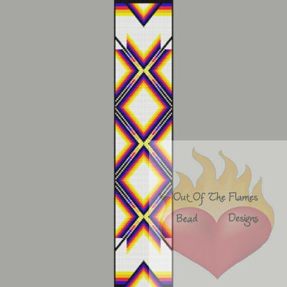 Native American  Color Ribbon Bead Pattern Loom by Outoftheflames, $5.00