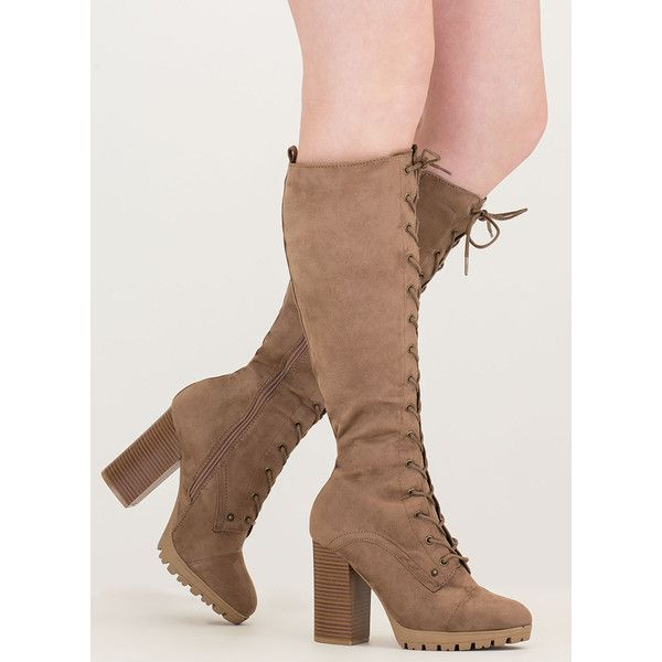 The Climb Chunky Lace-Up Lug Boots (37 AUD) ❤ liked on Polyvore featuring shoes, boots, knee-high boots, tan, tan knee high boots, tan high heel boots, lace up high heel boots, chunky-heel boots and high heel boots