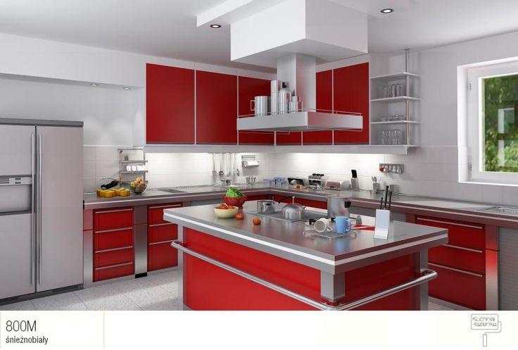 Czerwone meble kuchenne zwyspą +białe sciany. Duet idealny.