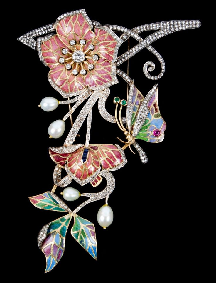 Art Nouveau gold, platinum, enamel, diamond and multi-gem brooch, circa 1885-95, mounted in 18k gold and platinum, with butterfly and flowers motifs, set with diamonds (about 5.5 carats tdw), pearls, sapphires, rubies, and emeralds.