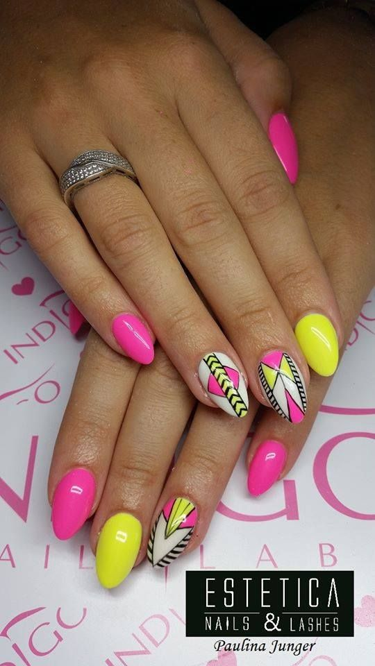 Neon Aztec print nail art... by Paulina Junger Indigo Young Team :) Follow us on…