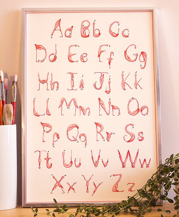 Alphabet, ABC, Flamingo art print, wall art nursery, nursery decor, baby room on Etsy, $24.50