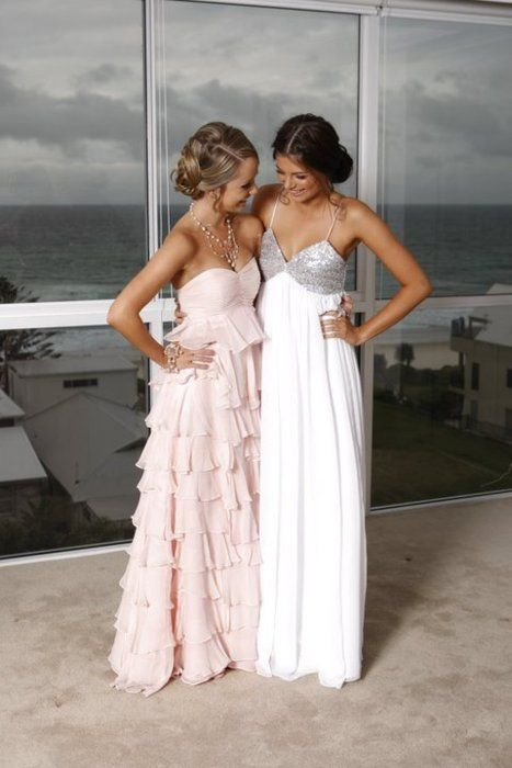 marine corps ball gown ideas...love both, but the one on the right is my fave.: Long Dresses, Pink Dresses, Best Friends, Formal Dresses, Bridesmaid Dresses, Bestfriends, Chiffon Prom Dresses, Promdress, The Dresses